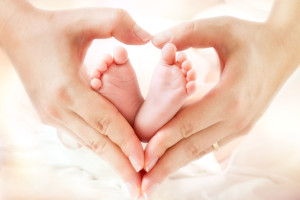 43828235 - baby feet in mother hands - hearth shape