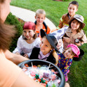 60514268 - halloween: kids excited to trick or treat